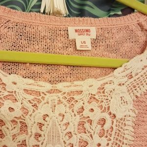 Mossimo Supply Co. Sweaters - Mossimo Light Pink Slub Knit Sweater w Lace L
